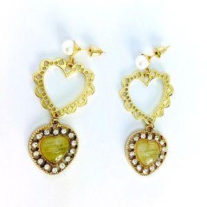New! Vintage Pearl Rhinestones Heart Earrings
